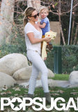 Hilary Duff took her son Luca to an LA park on Monday.