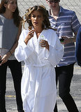 Sofia Vergara had curlers in her hair while preparing to film a commercial in Miami on Sunday.