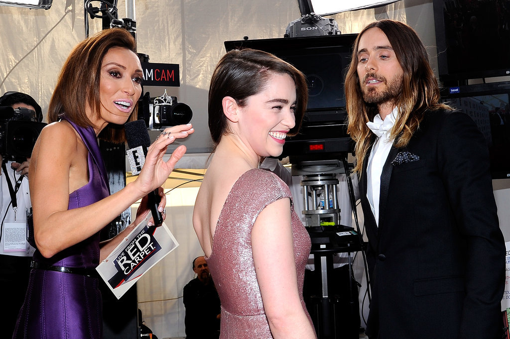 Jared gave Emilia Clarke a flirty glance as they were interviewed by Giuliana Rancic at the SAG Awards.