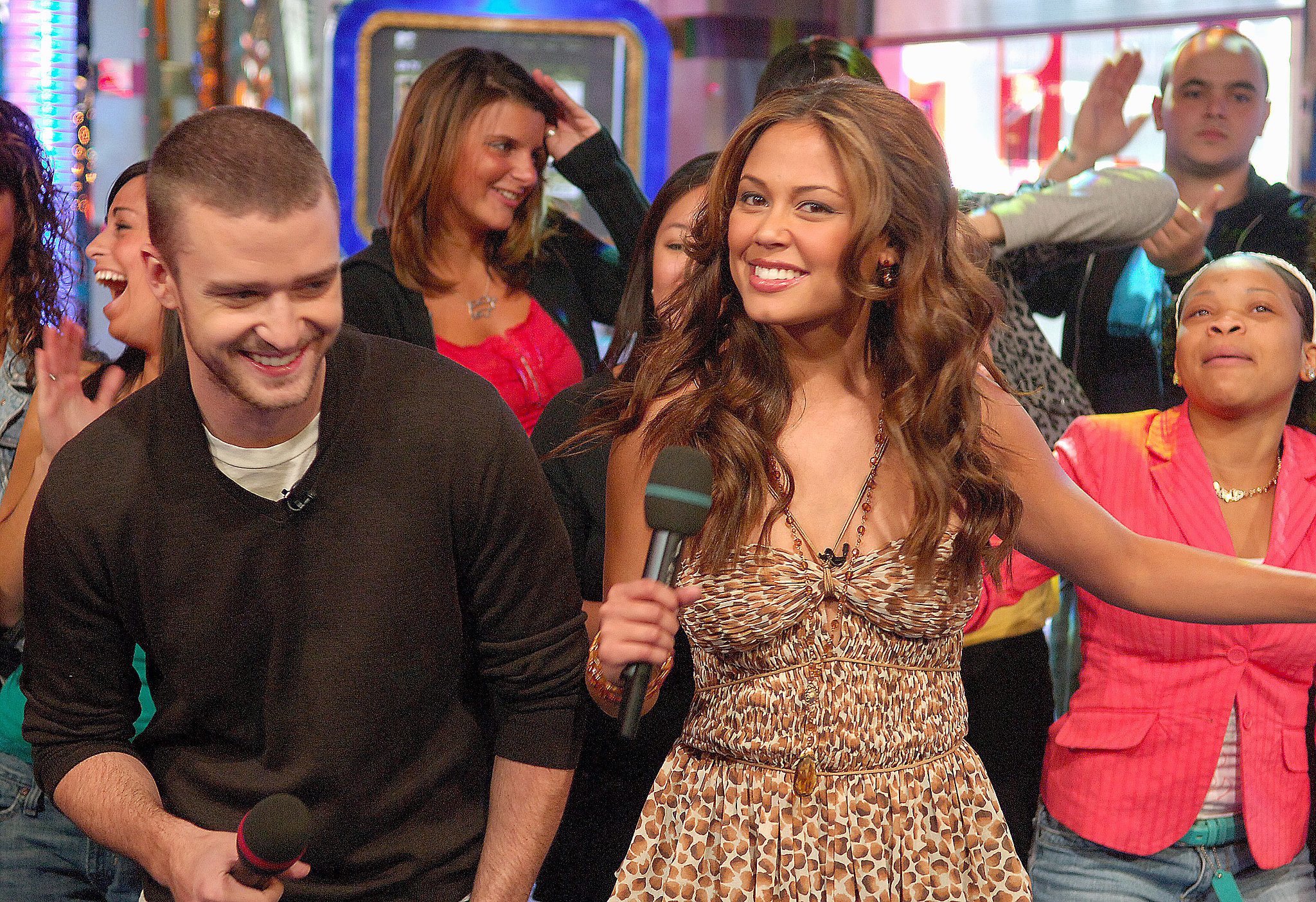 Justin had fun with Vanessa Minnilllo while visiting TRL in September 200