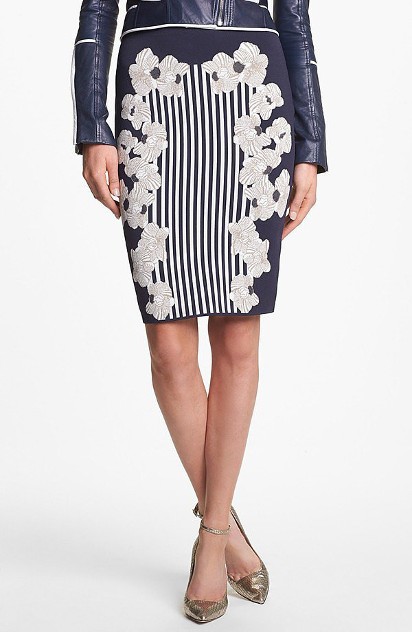 Diane von Furstenberg Kacee Stripe and Floral Print Pencil Skirt