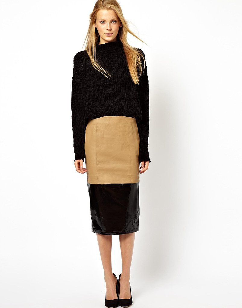 ASOS Camel and Black Colorblock Leather Pencil Skirt