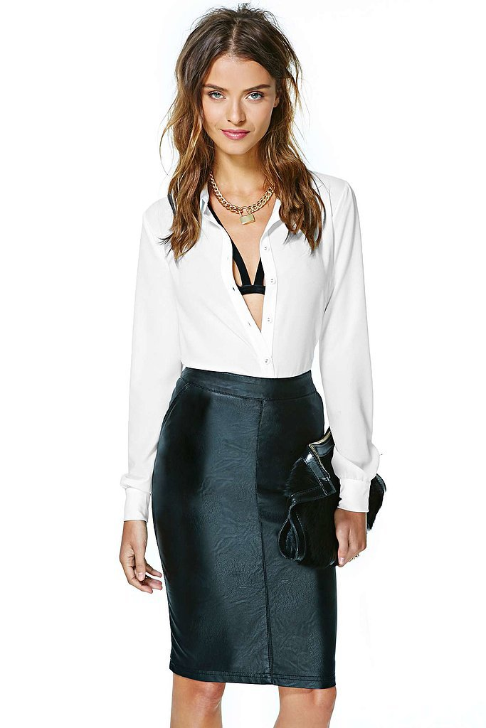 Nasty Gal Faux Leather Pencil Skirt