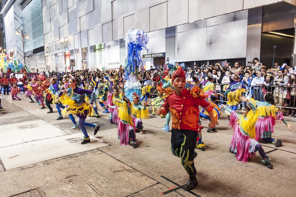 A parade took place honoring the Chinese New Year in Hong Kong.