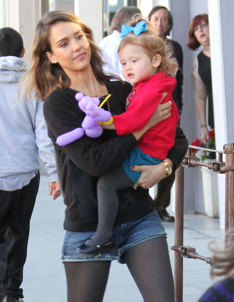 Jessica Alba held her daughter Haven while out and about in LA on Saturday.