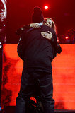 The couple shared a hug on stage while performing at the DirecTV Super Bowl preparty in February 2014.