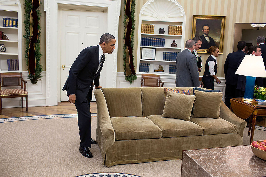 Sometimes, Obama rearranges his furniture.