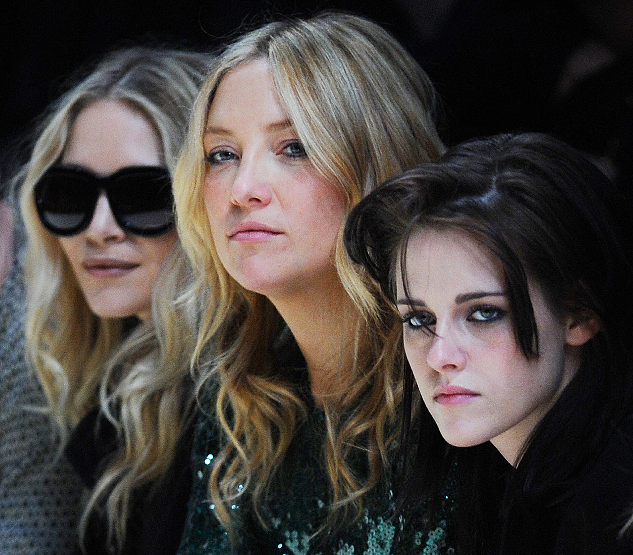 Ashley Olsen, Kate Hudson, and Kristen Stewart were serious at Burberry in February 2010.