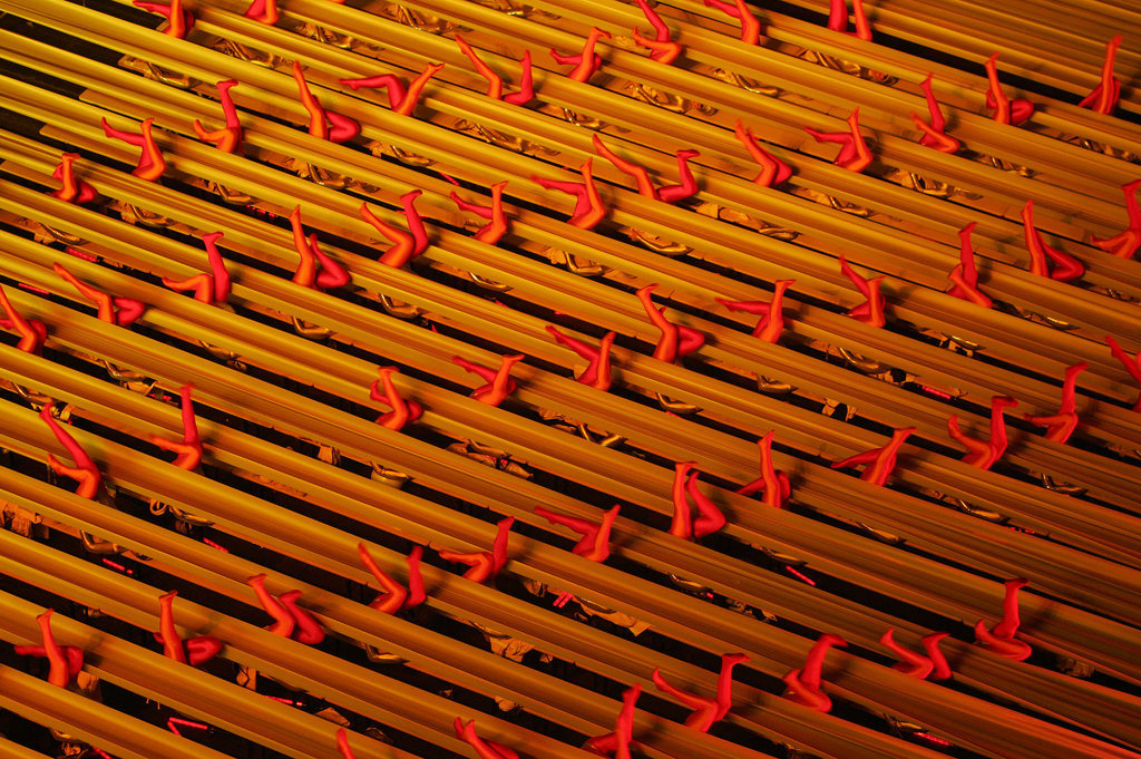 Rows and rows of legs popped up for a synchronized routine.