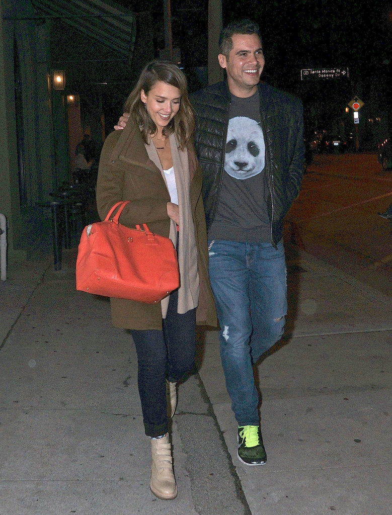 Jessica Alba and Cash Warren grabbed dinner at Craig's in West Hollywood on Monday.
