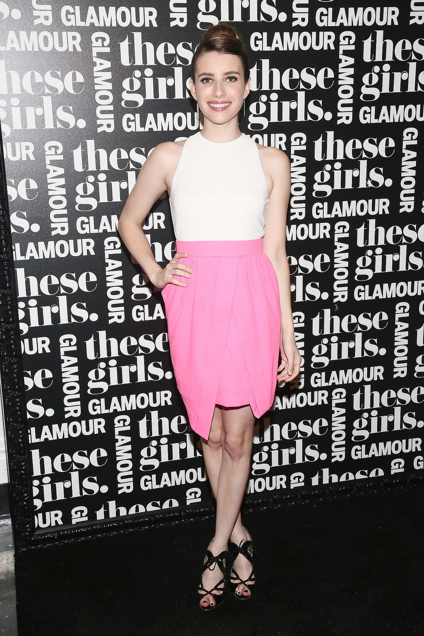 Emma was Spring-ready in a colorblock Camilla and Marc and lace-up Nicholas Kirkwood sandals for a Glamour event in NYC.