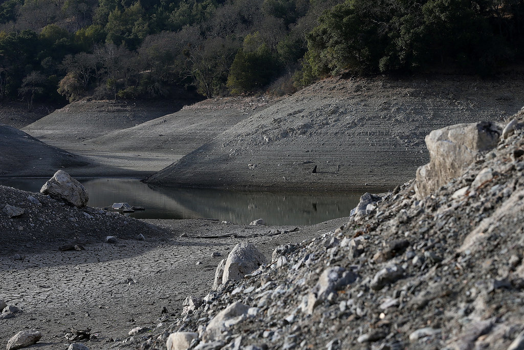 San Jose's Almaden Reservoir has strikingly low water levels.