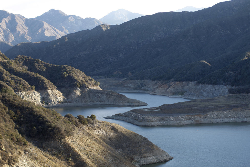 Rocky shores are exposed at the San Gabriel Reservoir near Azusa, CA.