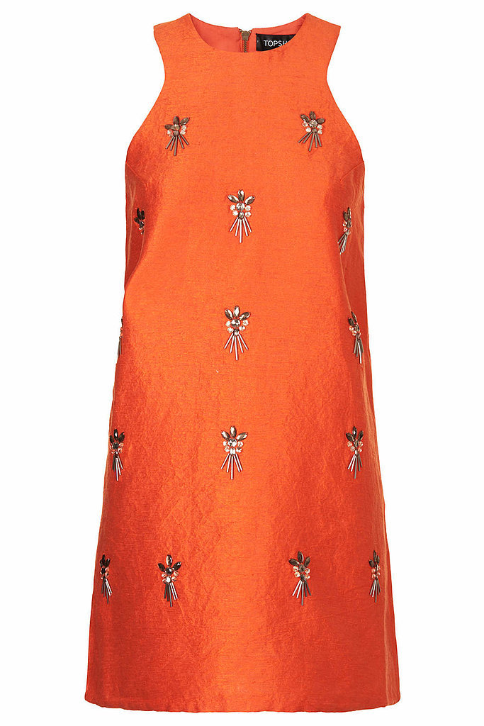 Topshop Orange Embellished Aline Dress ($130)