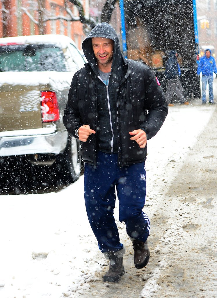 On Monday, Hugh Jackman went for a stroll despite a massive snowstorm hitting NYC.