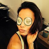 Jamie Chung ditched the puff (not that she has any!) with the help of cucumbers.  Source: Instagram user jamiejchung