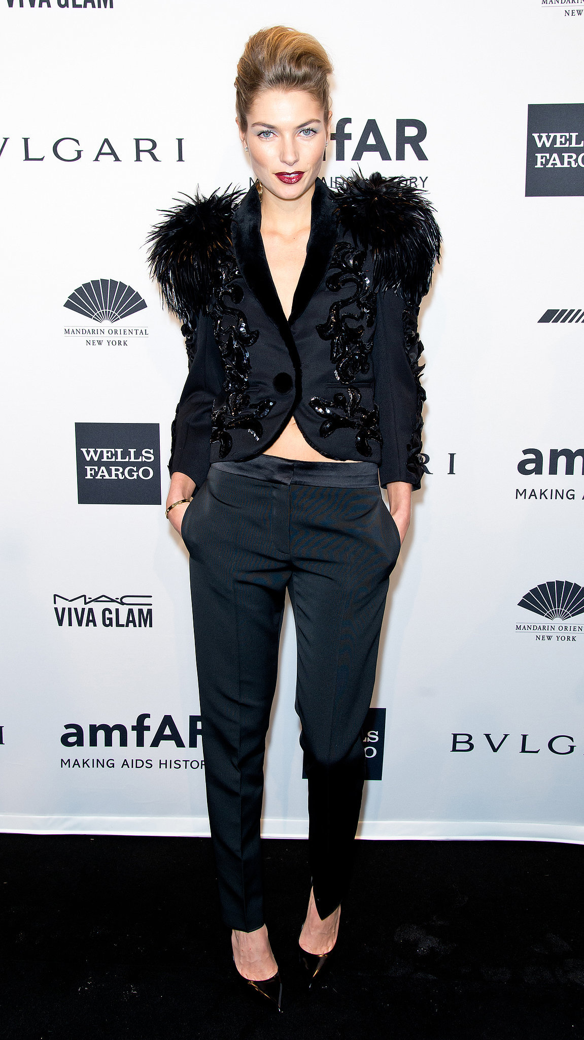 Jessica Hart, wearing Louis Vuitton, at amfAR's New York Gala.
