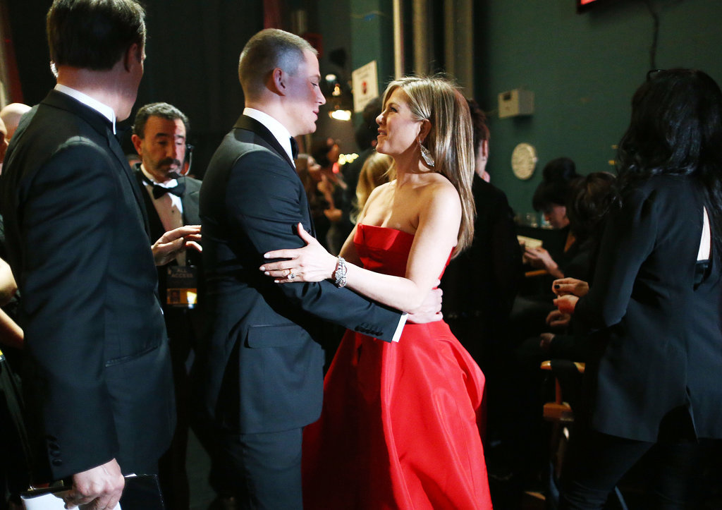 Jen gave Channing Tatum a quick hug before they presented on stage together at the Oscars in February 2013.