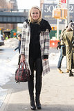 Mary Kate Steinmiller matched her plaid coat to her plaid Prada bag. Source: Melodie Jeng/The NYC Streets