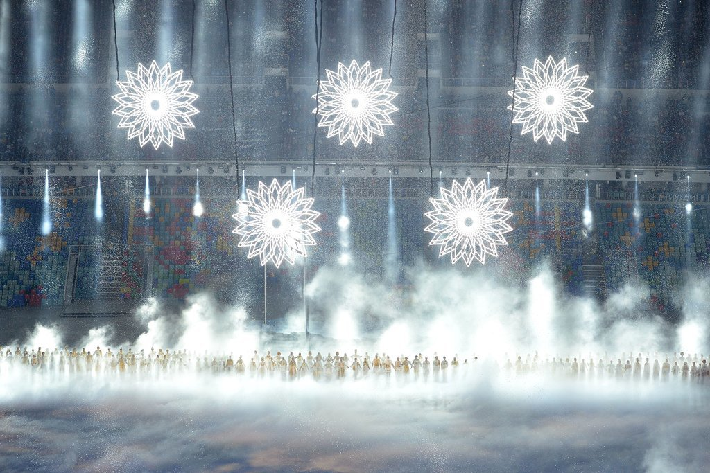 Snowflakes in the shape of the Olympic rings were all lit up.