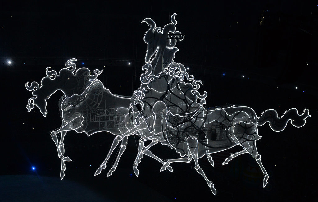 A lit-up version of the traditional three-horse Russian troika symbol was suspended in the arena.