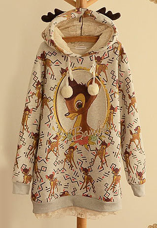 Image of [grzxy6601021]Cute Deer Print Pompom Thick Lined Sweatshirt Hoodie Pullover