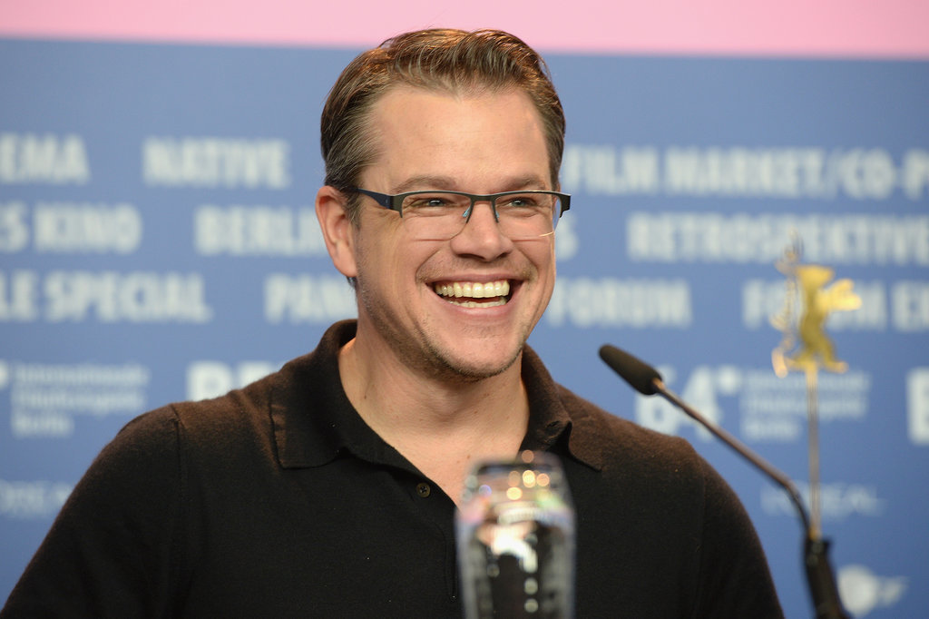 Matt lit up with a big smile at a press conference for The Monuments Men on Saturday.