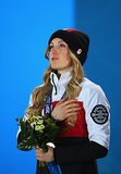 Justine Dufour-Lapointe became emotional during the medal ceremony for the women's moguls final, where she took home the gold.