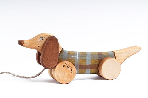 Personalized Wooden Dog Pull Toy