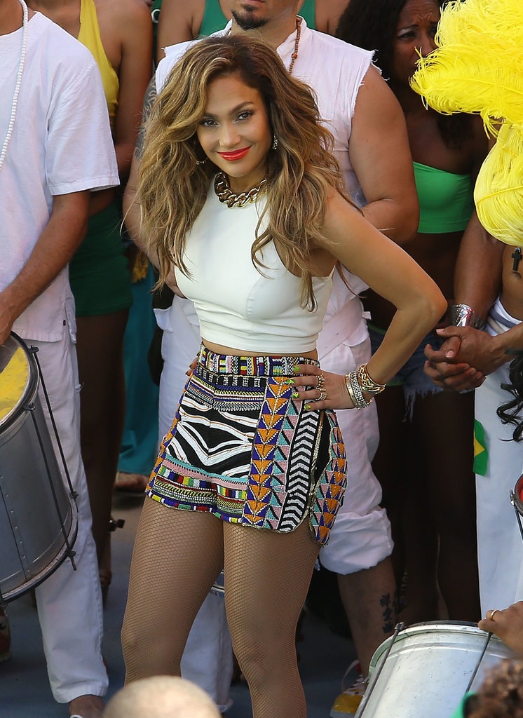 Jennifer Lopez sported sexy shorts on the set of a music video for FIFA World Cup Brazil in Florida on Tuesday.