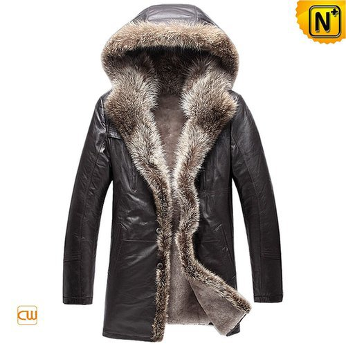 Men's Hooded Sheepskin Fur Coat CW877159