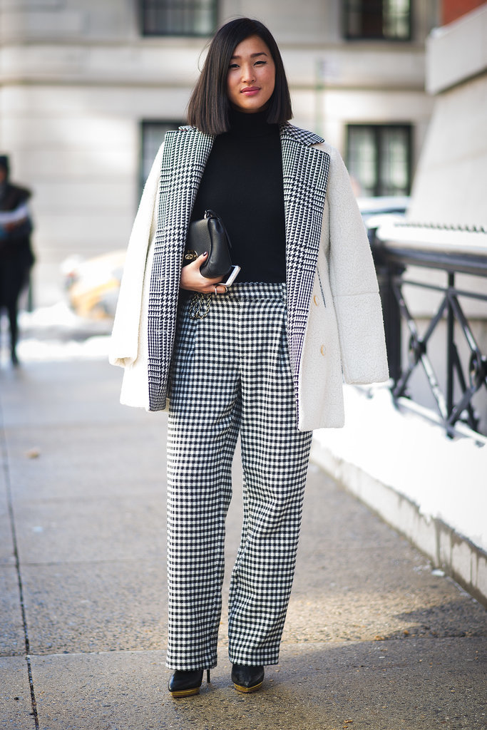 Another day, another sophisticated ensemble from Nicole Warne in a houndstooth suit.