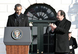 President Obama spoke, and President Hollande applauded.