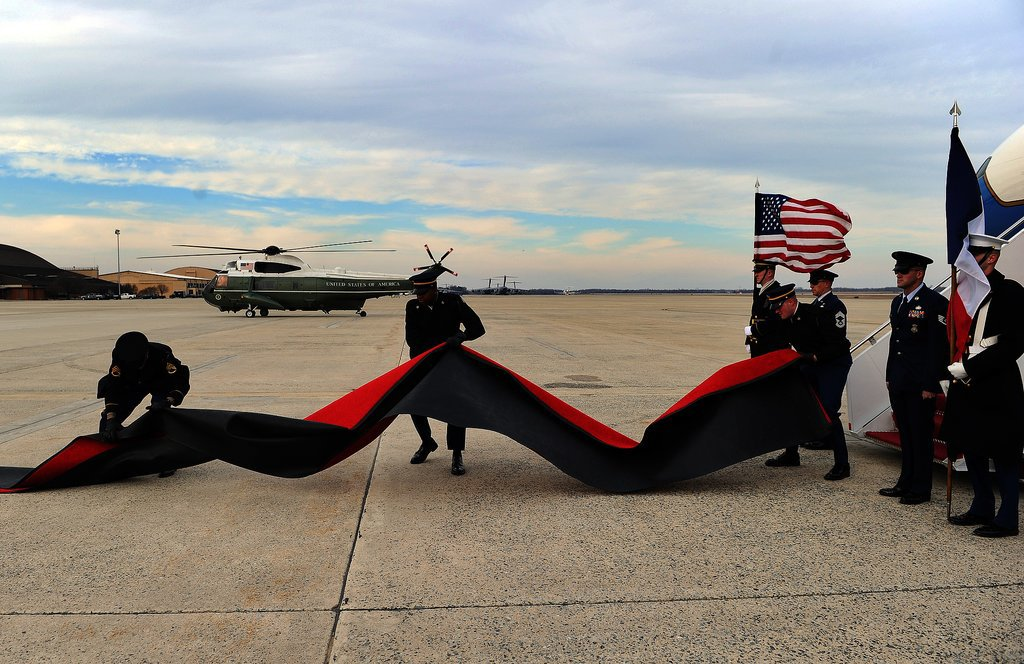 They literally rolled out the red carpet for President Hollande's arrival on Monday.