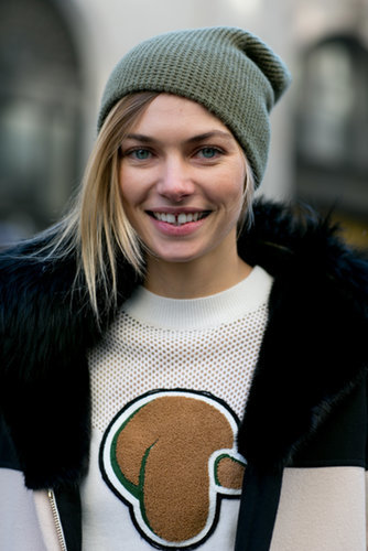 Jessica Hart's accessory of choice? A cool-girl beanie.