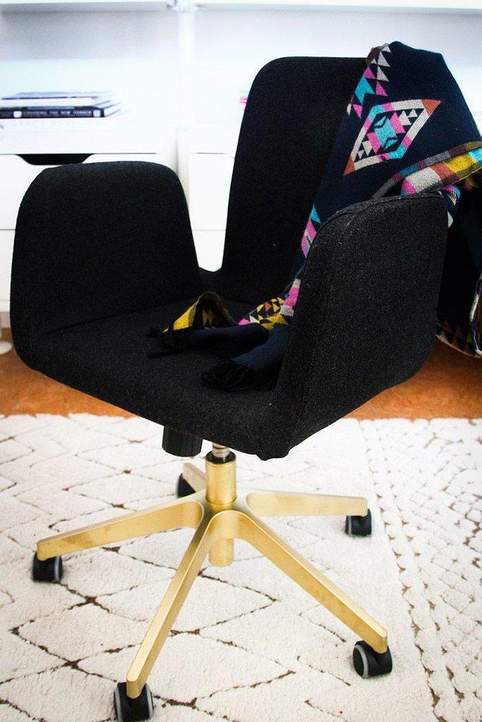 Even boring desk chairs can stand out, thanks to this Ikea spray-paint hack. Source: Hither and Thither