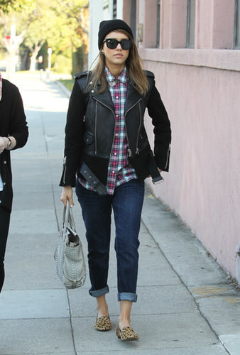 Could Jessica get any cooler? Answer: no. Alba hit the hair salon in a dual-texture Sandro jacket, Vineyard Vines plaid shirt, and Current/Elliot Fling jeans then accessorized with leopard driving loafers, a python Hunting Season tote, and wide-frame shades in December 2012.