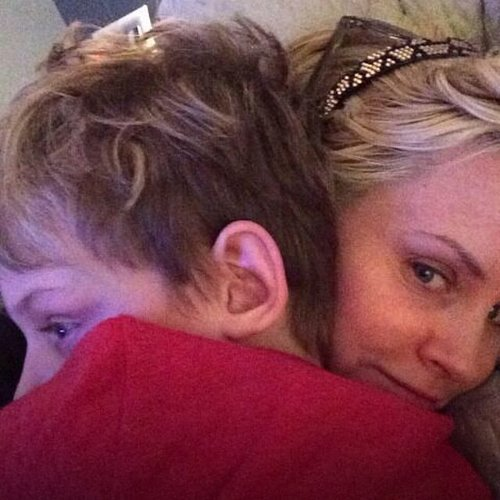 A makeup-free Jenny McCarthy got a hug from Evan Asher.  Source: Instagram user jennyannmccarthy