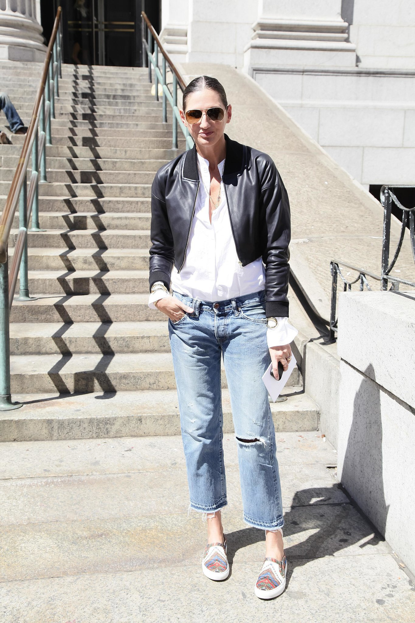 Casual Jenna mixed basics you likely have at home — relaxed boyfriend jeans, a leather ja
