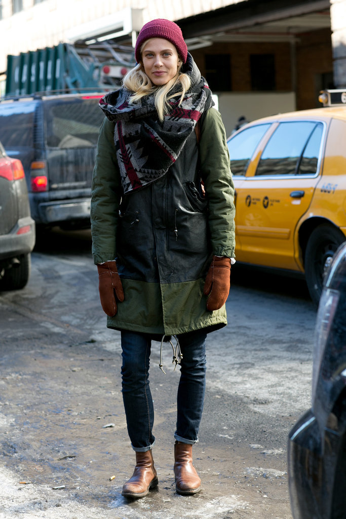 We adore her approach to bundling up.