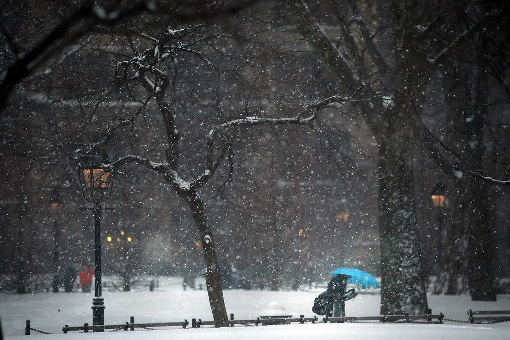 A person made their way through NYC when the wintry weather hit.