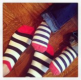 Miranda Kerr showed off her matching Valentine's Day socks with her son, Flynn. Source: Instagram user mirandakerr