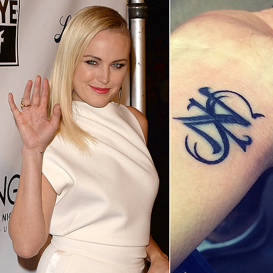 Malin Akerman had a Z for her ex-husband, Roberto Zincone, inked on her right wrist but changed it to represent her son Sebastian's initials after she and Roberto split. 