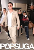Brad Pitt, Angelina Jolie, and their son Maddox Jolie-Pitt touched down in LA on Monday.