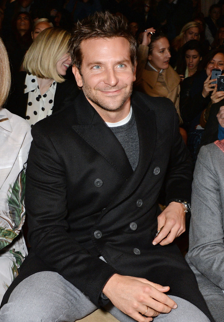 Bradley Cooper sat front row while supporting his girlfriend, Suki Waterhouse, as she walked the runway at Burberry.