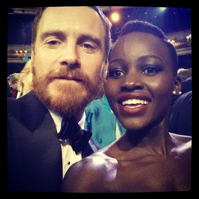 "After Lupita and Michael Fassbender lost in their respective BAFTA categories, they posed for this funny ""losers selfie"" together. Source: Instagram user lupitanyongo"
