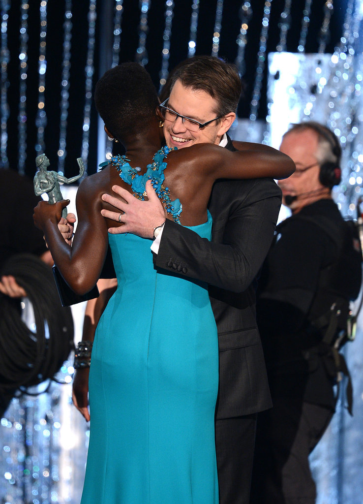 She shared a sweet embrace with Matt Damon as he presented her with a SAG trophy.