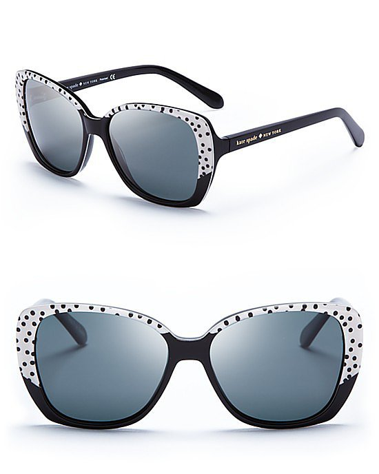Kate Spade New York Brenna Black and White Polka Dot Sunglasses ($158)
