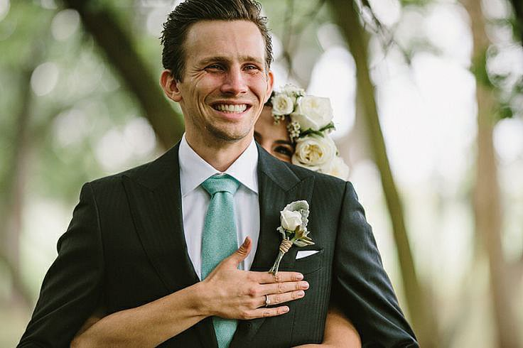 Now that's a wedding-day smile.  Photo by Brad + Jen of Q Avenue Photo via Green Wedding Shoes
