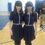 Zooey Deschanel showed off her stunt double from New Girl.  Source: Instagram user zooeydeschanel